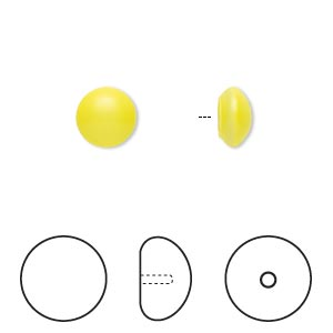 pearl, swarovski crystal cabochon, neon yellow, 8mm half-drilled round (5817). sold per pkg of 50.