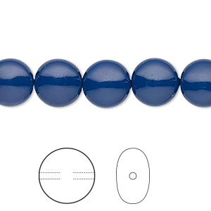 pearl, swarovski crystal gemcolors, dark lapis, 10mm coin (5860). sold per pkg of 100.