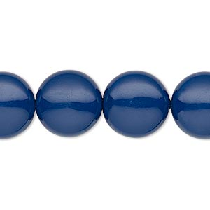 pearl, swarovski crystal gemcolors, dark lapis, 14mm coin (5860). sold per pkg of 10.