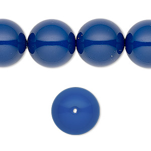 pearl, swarovski crystal gemcolors, dark lapis, 14mm round with 1.3-1.5mm hole (5811). sold per pkg of 10.