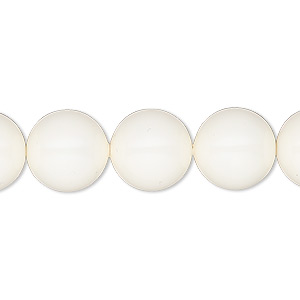 pearl, swarovski crystal gemcolors, ivory, 12mm round (5810). sold per pkg of 10.