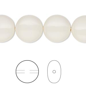 pearl, swarovski crystal gemcolors, ivory, 14mm coin (5860). sold per pkg of 50.