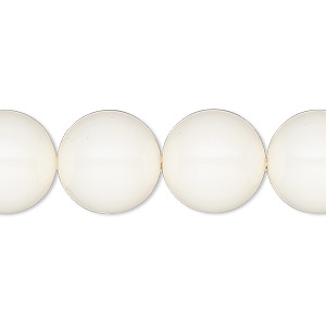 pearl, swarovski crystal gemcolors, ivory, 14mm round with 1.3-1.5mm hole (5811). sold per pkg of 50.