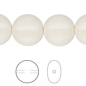 pearl, swarovski crystal gemcolors, ivory, 16mm coin (5860). sold per pkg of 5.