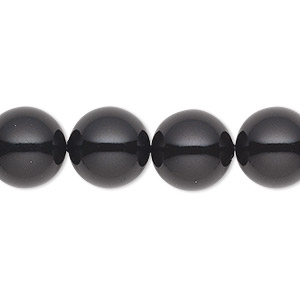 pearl, swarovski crystal gemcolors, mystic black, 12mm round (5810). sold per pkg of 100.