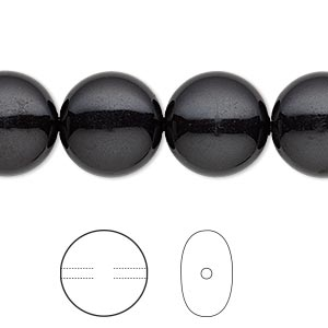 pearl, swarovski crystal gemcolors, mystic black, 14mm coin (5860). sold per pkg of 10.