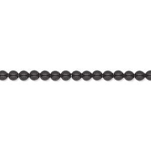 pearl, swarovski crystal gemcolors, mystic black, 3mm round (5810). sold per pkg of 1,000.