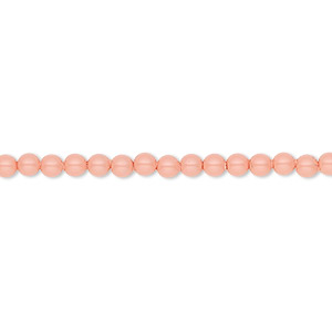 pearl, swarovski crystal gemcolors, pink coral, 3mm round (5810). sold per pkg of 100.