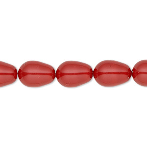 pearl, swarovski crystal gemcolors, red coral, 11x8mm pear (5821). sold per pkg of 250.