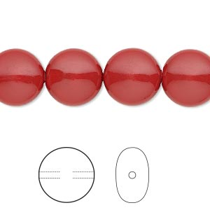 pearl, swarovski crystal gemcolors, red coral, 12mm coin (5860). sold per pkg of 100.