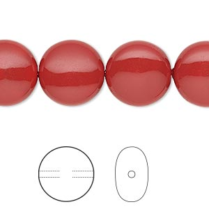 pearl, swarovski crystal gemcolors, red coral, 14mm coin (5860). sold per pkg of 50.