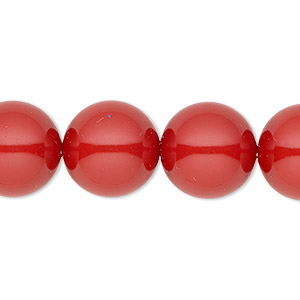 pearl, swarovski crystal gemcolors, red coral, 14mm round with 1.3-1.5mm hole (5811). sold per pkg of 10.