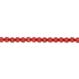 pearl, swarovski crystal gemcolors, red coral, 3mm round (5810). sold per pkg of 1,000.