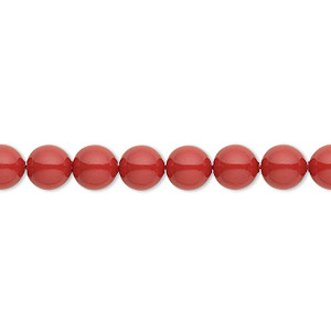 pearl, swarovski crystal gemcolors, red coral, 6mm round (5810). sold per pkg of 500.