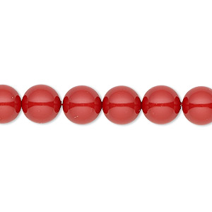 pearl, swarovski crystal gemcolors, red coral, 8mm round (5810). sold per pkg of 50.
