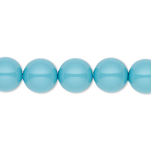 pearl, swarovski crystal gemcolors, turquoise, 10mm round with 1.3-1.5mm hole (5811). sold per pkg of 25.