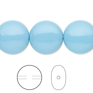 pearl, swarovski crystal gemcolors, turquoise, 16mm coin (5860). sold per pkg of 5.
