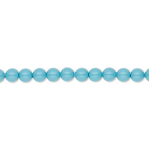 pearl, swarovski crystal gemcolors, turquoise, 4mm round (5810). sold per pkg of 100.
