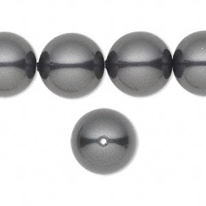 pearl, swarovski crystals, black, 14mm round with 1.3-1.5mm hole (5811). sold per pkg of 50.