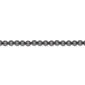 pearl, swarovski crystals, black, 3mm round (5810). sold per pkg of 100.