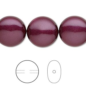 pearl, swarovski crystals, blackberry, 16mm coin (5860). sold per pkg of 25.