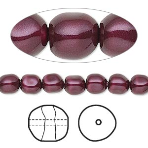 pearl, swarovski crystals, blackberry, 6mm baroque (5840). sold per pkg of 250.