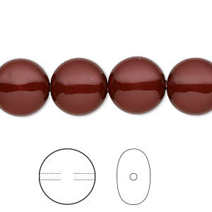 pearl, swarovski crystals, bordeaux, 12mm coin (5860). sold per pkg of 100.