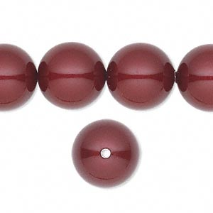 pearl, swarovski crystals, bordeaux, 14mm round with 1.3-1.5mm hole (5811). sold per pkg of 50.