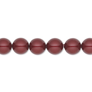 pearl, swarovski crystals, bordeaux, 8mm round (5810). sold per pkg of 50.