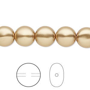pearl, swarovski crystals, bright gold, 10mm coin (5860). sold per pkg of 10.