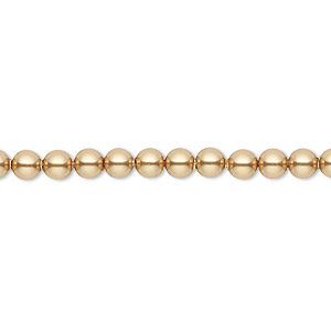 pearl, swarovski crystals, bright gold, 4mm round (5810). sold per pkg of 500.