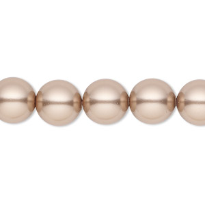 pearl, swarovski crystals, bronze, 10mm round with 1.3-1.5mm hole (5811). sold per pkg of 100.