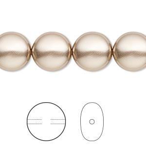 pearl, swarovski crystals, bronze, 12mm coin (5860). sold per pkg of 10.