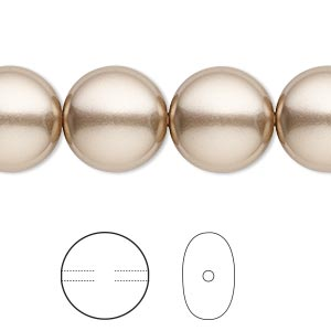 pearl, swarovski crystals, bronze, 14mm coin (5860). sold per pkg of 50.