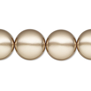 pearl, swarovski crystals, bronze, 16mm coin (5860). sold per pkg of 25.