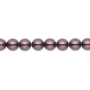 pearl, swarovski crystals, burgundy, 6mm round (5810). sold per pkg of 50.