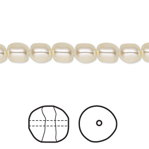 pearl, swarovski crystals, cream, 6mm baroque (5840). sold per pkg of 500.