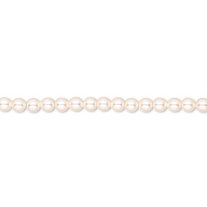 pearl, swarovski crystals, creamrose, 3mm round (5810). sold per pkg of 100.