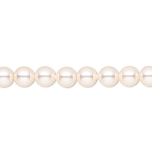 pearl, swarovski crystals, creamrose, 6mm round (5810). sold per pkg of 50.