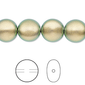 pearl, swarovski crystals, crystal iridescent green, 12mm coin (5860). sold per pkg of 10.