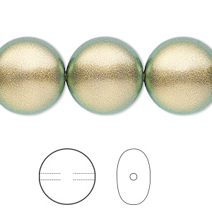pearl, swarovski crystals, crystal iridescent green, 16mm coin (5860). sold per pkg of 5.