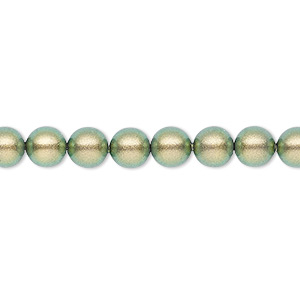 pearl, swarovski crystals, crystal iridescent green, 6mm round (5810). sold per pkg of 500.
