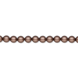 pearl, swarovski crystals, crystal passions, velvet brown, 4mm round (5810). sold per pkg of 100.
