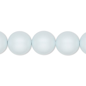 pearl, swarovski crystals, crystal pastel blue, 12mm round with 1.3-1.5mm hole (5811). sold per pkg of 100.