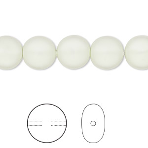 pearl, swarovski crystals, crystal pastel green, 10mm coin (5860). sold per pkg of 100.