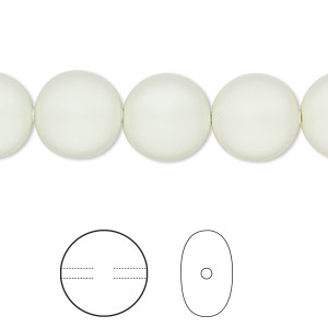 pearl, swarovski crystals, crystal pastel green, 12mm coin (5860). sold per pkg of 10.