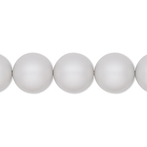 pearl, swarovski crystals, crystal pastel grey, 12mm round (5810). sold per pkg of 100.