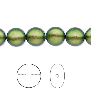 pearl, swarovski crystals, crystal scarabaeus green, 10mm coin (5860). sold per pkg of 10.