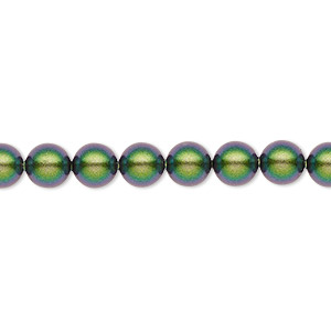 pearl, swarovski crystals, crystal scarabaeus green, 6mm round (5810). sold per pkg of 50.
