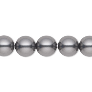 pearl, swarovski crystals, dark grey, 10mm round (5810). sold per pkg of 25.